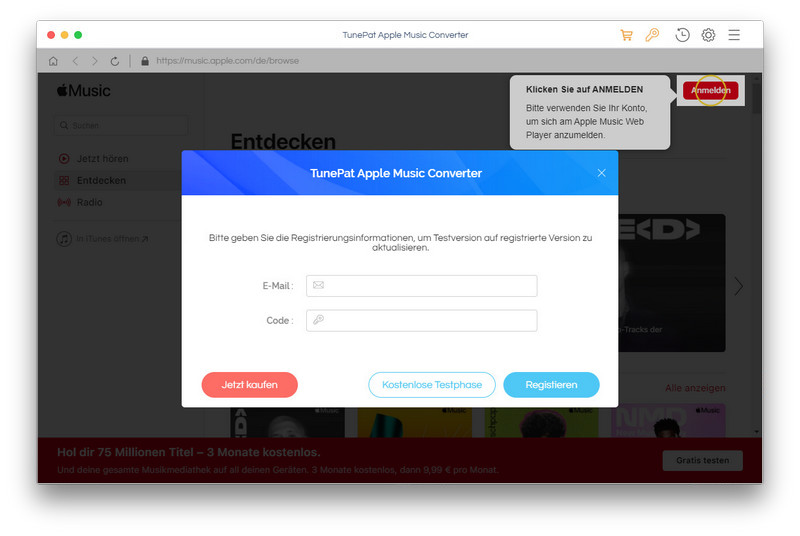 TunePat Apple Music Converter for Mac registrieren