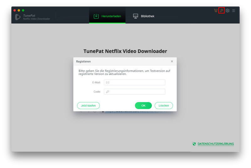 Registrieren TunePat Netflix Video Downloader